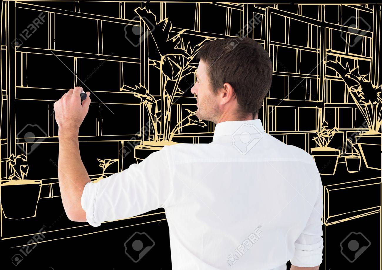 Digital Composite Of Man Drawing 3d Office Light Lines In Dark