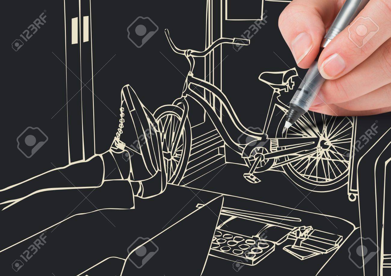 Drawing Lines In Office : Digital composite of hand drawing d office lines in negative