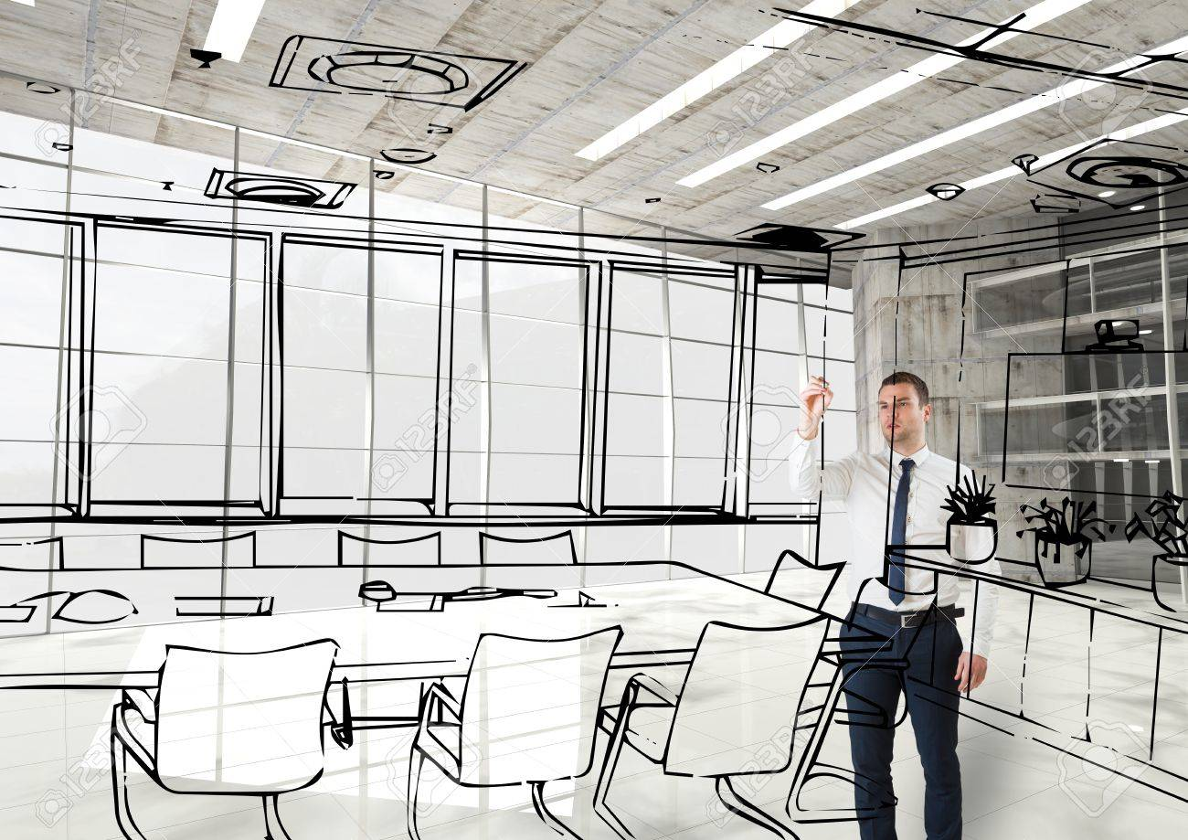 Drawing Lines In Office : Digital composite of business man d drawing fictitious office