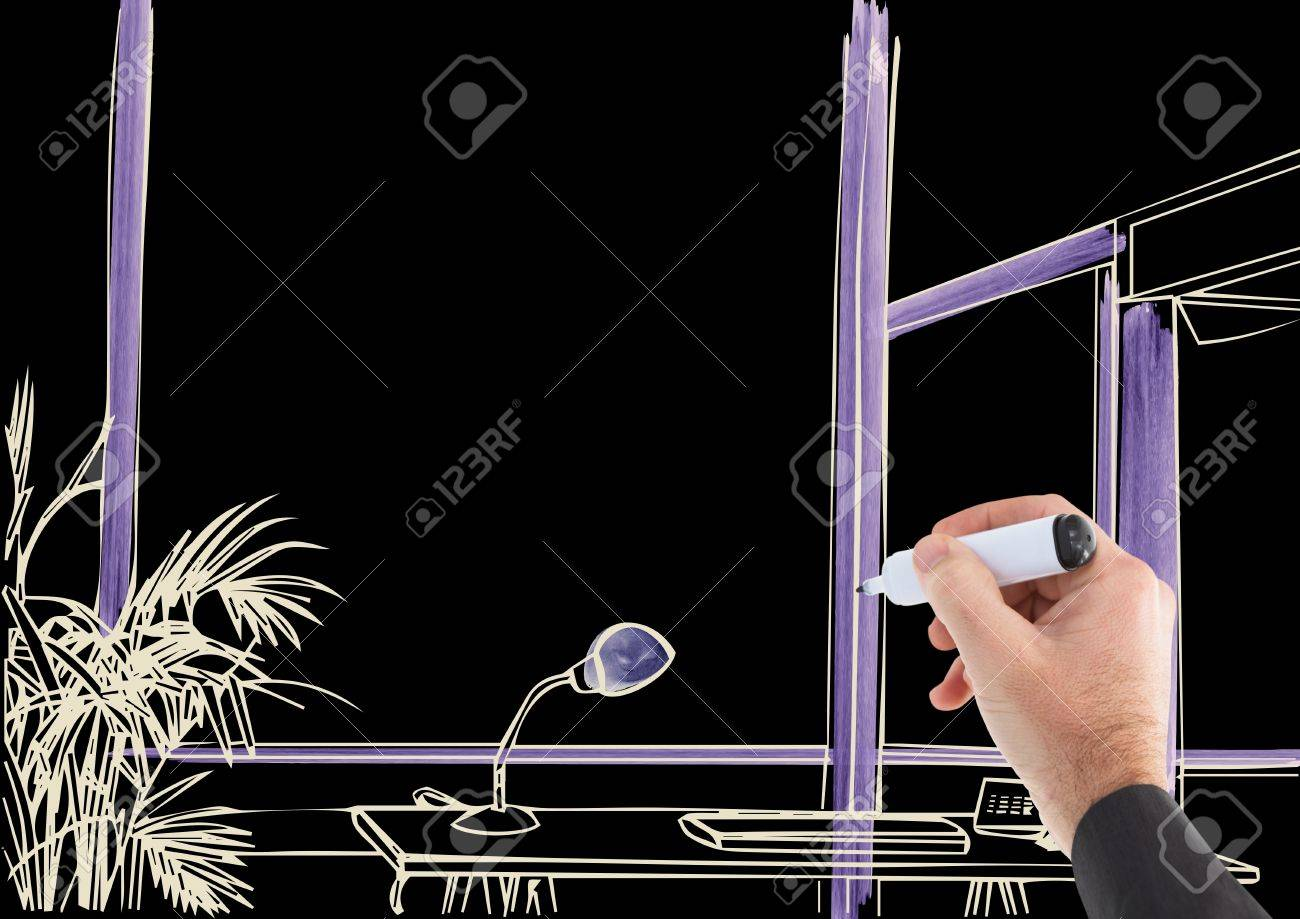 Drawing Lines In Office : Digital composite of d hand drawing office lines in negative