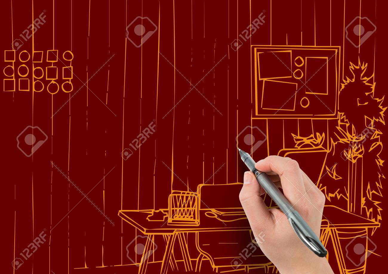 Drawing Lines In Office : Digital composite of d hand drawing office orange lines on dark