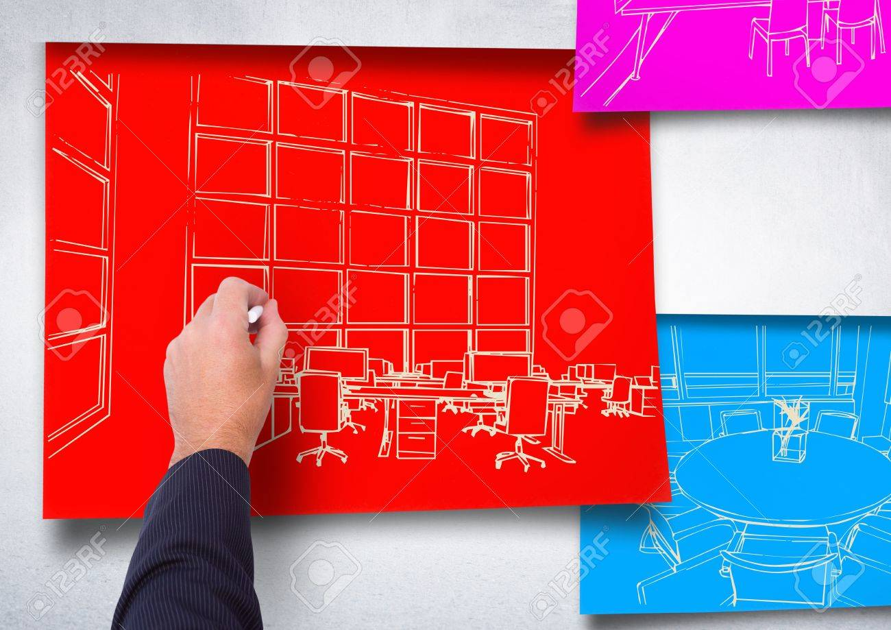 Digital composite of 3d hand drawing office white lines on red digital composite of 3d hand drawing office white lines on red paper stick on the wall malvernweather Images