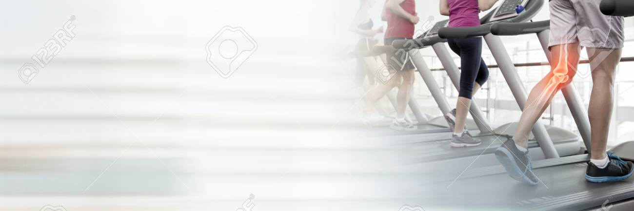Digital composite of Running on treadmills in Gym with transition - 82651161