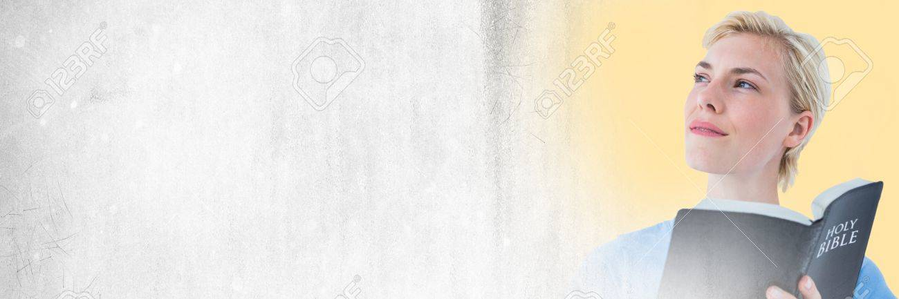 Digital composite of Woman with bible and white grunge transition - 82479776