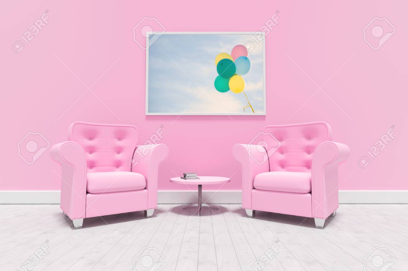 Pink Armchairs Against Blank Picture Frame Against Bunch Of Pastel Color  Balloons Floating In Air Stock