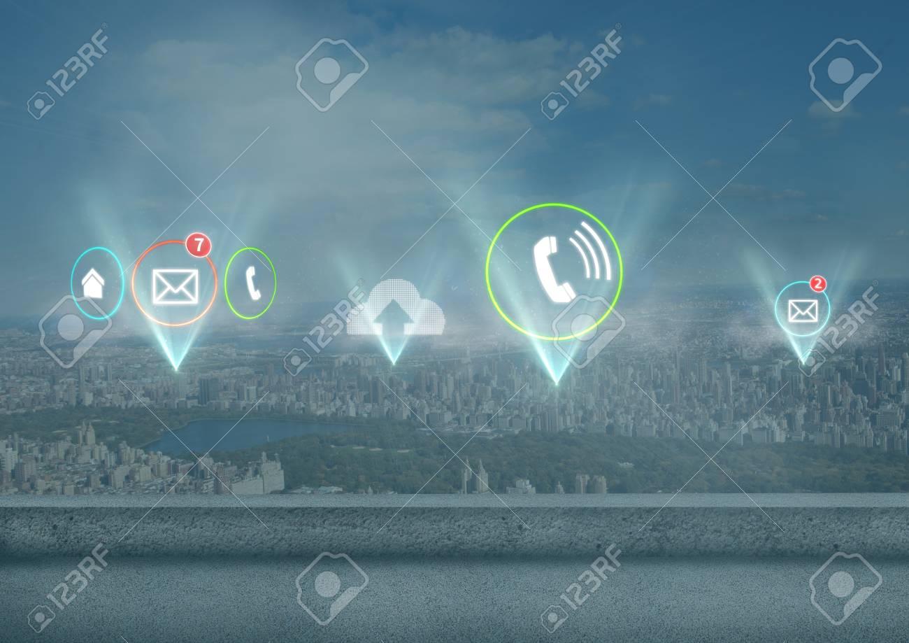 Digitale Samenstelling Van Diverse App Pictogrammen Die Over Stad ...