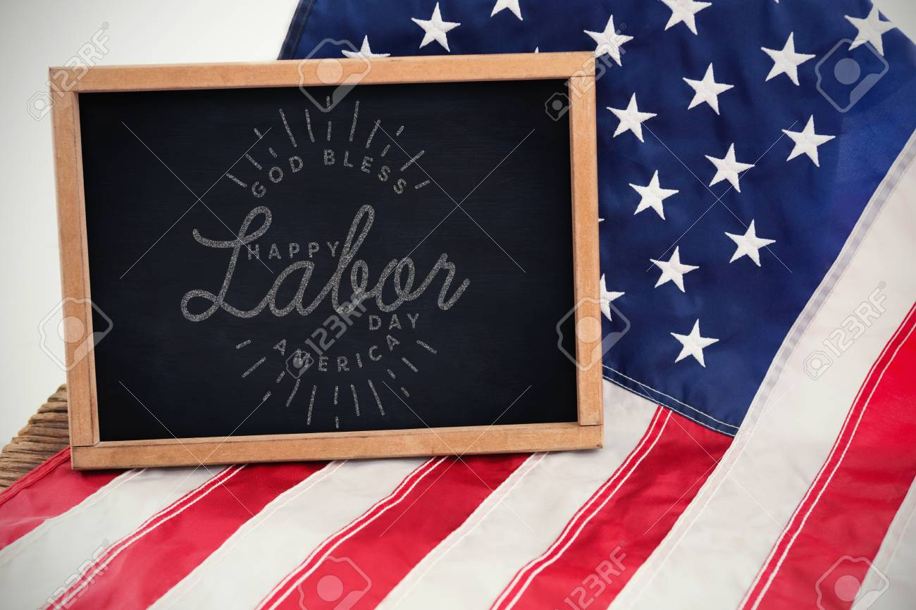 Composite Image Of Happy Labor Day And God Bless America Text