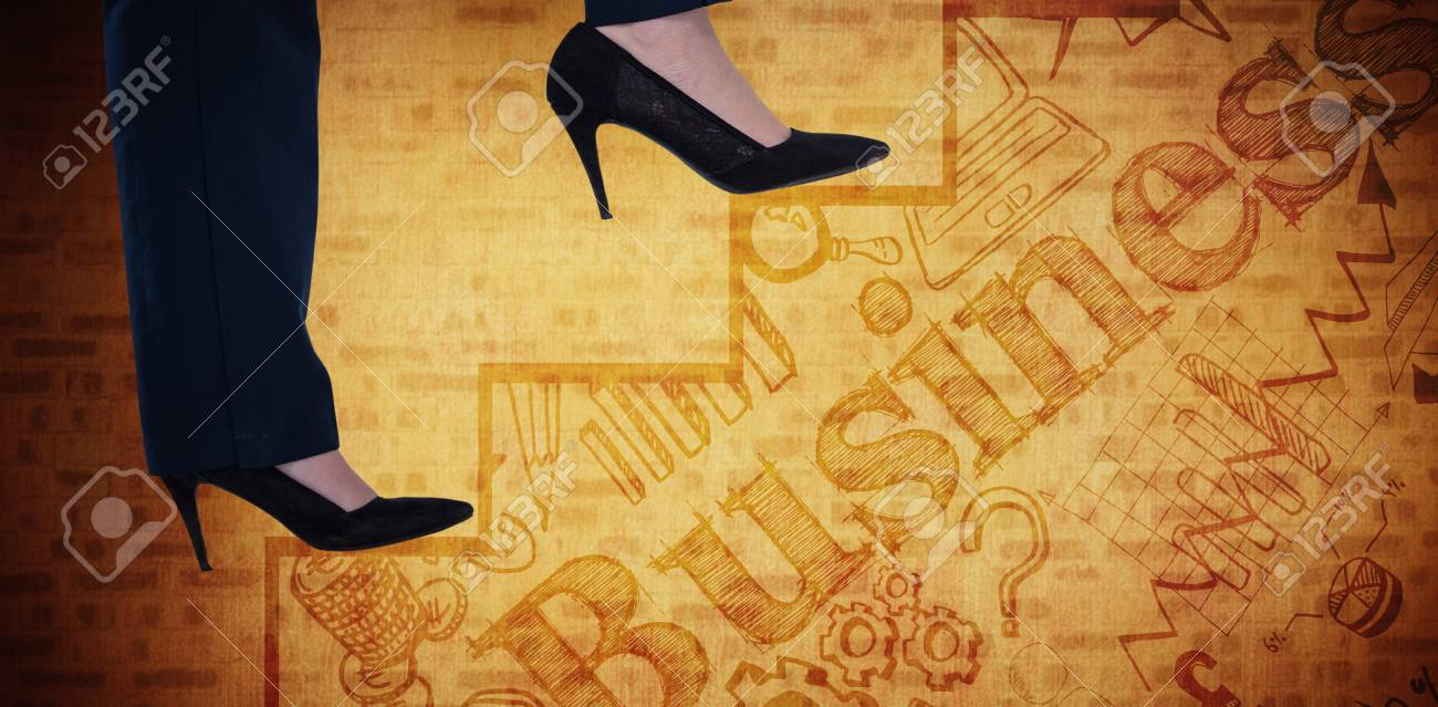 Conceptual Image Of Businesswoman In Heels Climbing Steps Against ...