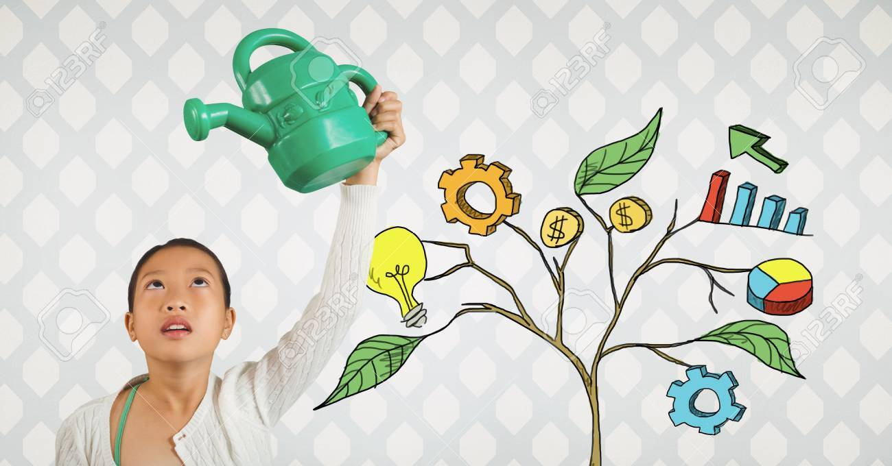 digital composite of holding watering can and drawing of