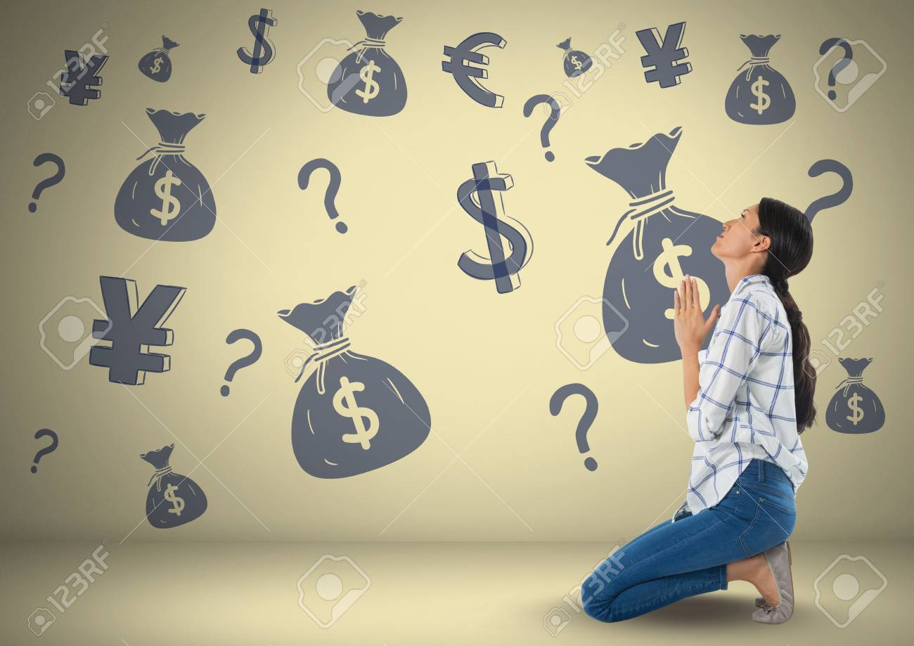 Digital Composite Of Woman In Front Of Money On Wall Stock Photo ...