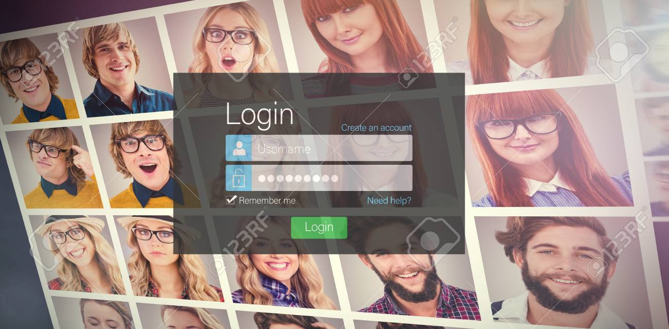 close up of login page against collage of portraits stock photo