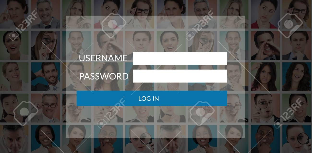 login page against people collage portrait 5x5 stock photo picture