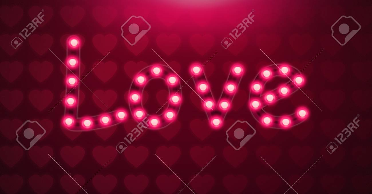 Neon Light Bulbs >> Digital Composite Of Love Text Glowing Neon Light Bulbs With