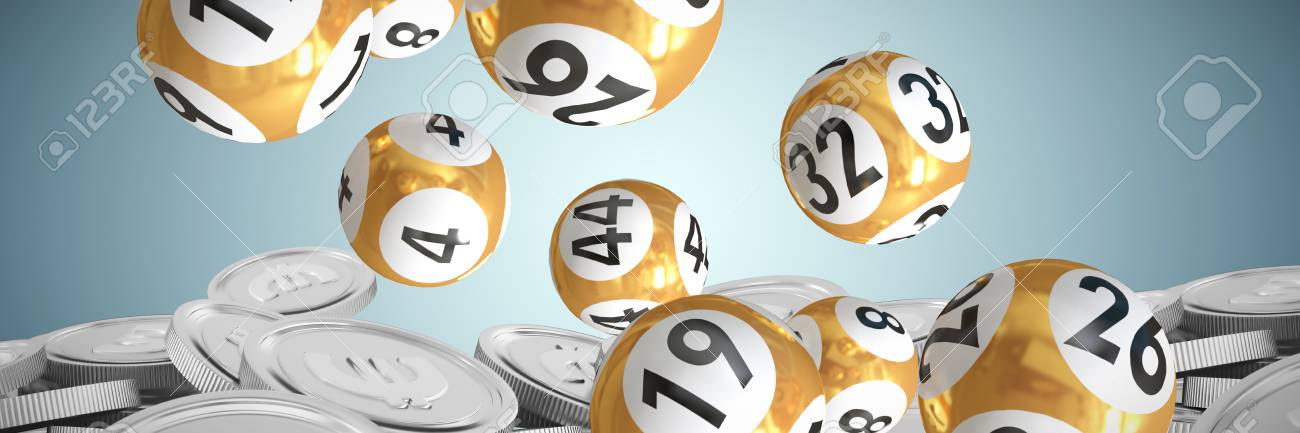 Lottery balls with numbers against bitcoins - 94124180