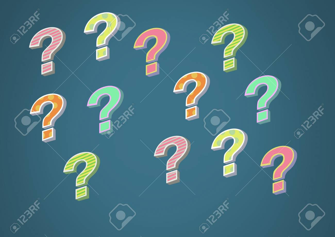 digital composite of colorful funky question marks stock photo