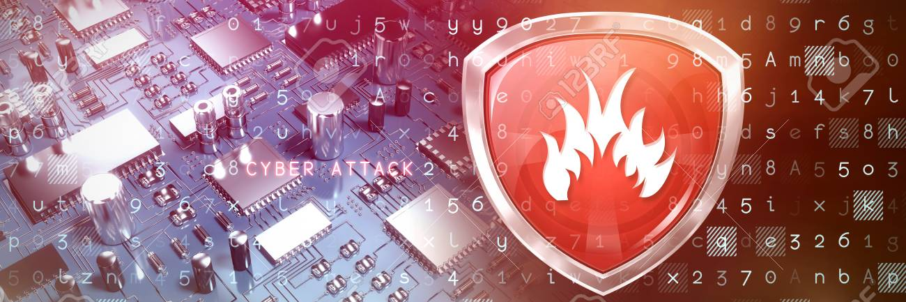 Red Fire Symbol Against Close Up Of Circuit Board Stock Photo