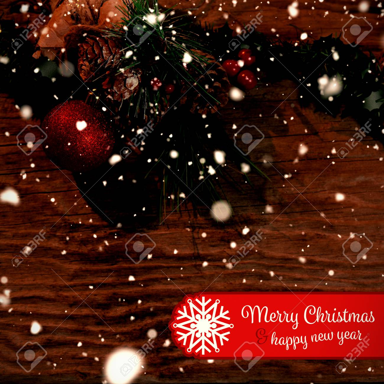 Banner Merry Christmas Against Copy Space With Rustic Christmas