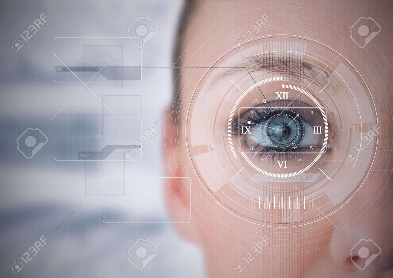 Round scanner and digital interface with data processing against close up of female human eye. cyber security and digital interface technology concept - 166431796