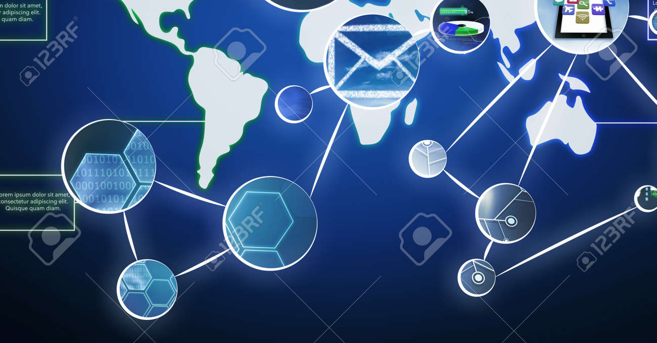 Network of digital icons over world map against blue background. global networking and computer interface technology concept - 169452956