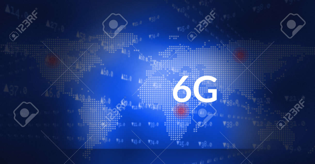Composition of 6g text and data processing over world map on blue background. global networks, communication and technology concept digitally generated image. - 169453531