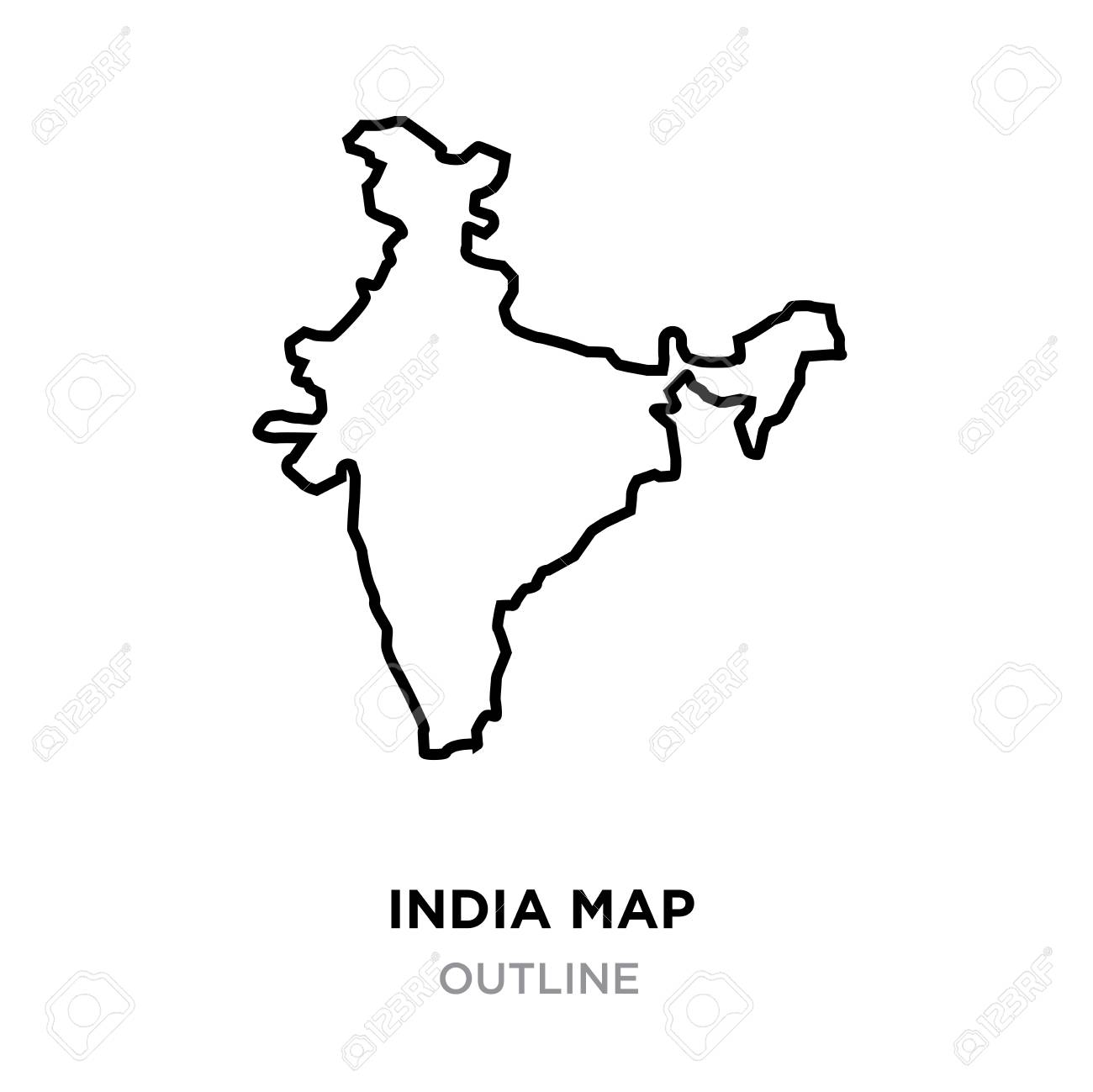 Indian Map Outline On White Background, Vector Illustration Royalty ...
