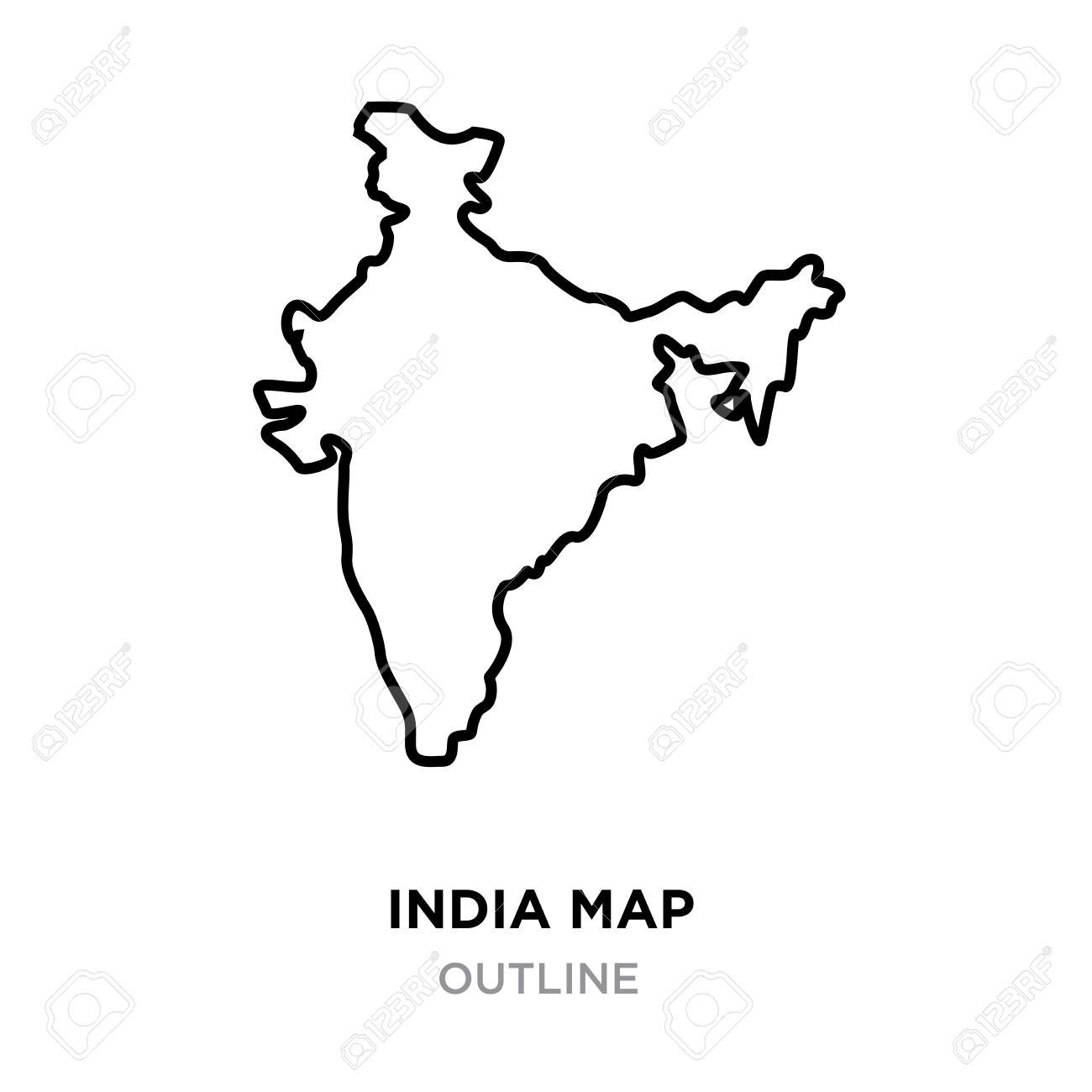 An Indian map outline on white background, vector illustration on temperature map, indian food, indian monsoon, indian national animal, indian jobs, map builder, indian art, central asia map, indian film, indian shop, indian paper, map drive, indian symbols, normal maps, indian tribes, indian clothing, indian education, indian hotels, live map, indian car, indian compass, political map of the world, indian flag, sky map, indian history, indian restaurants, latin america map, indian city, indian currency,