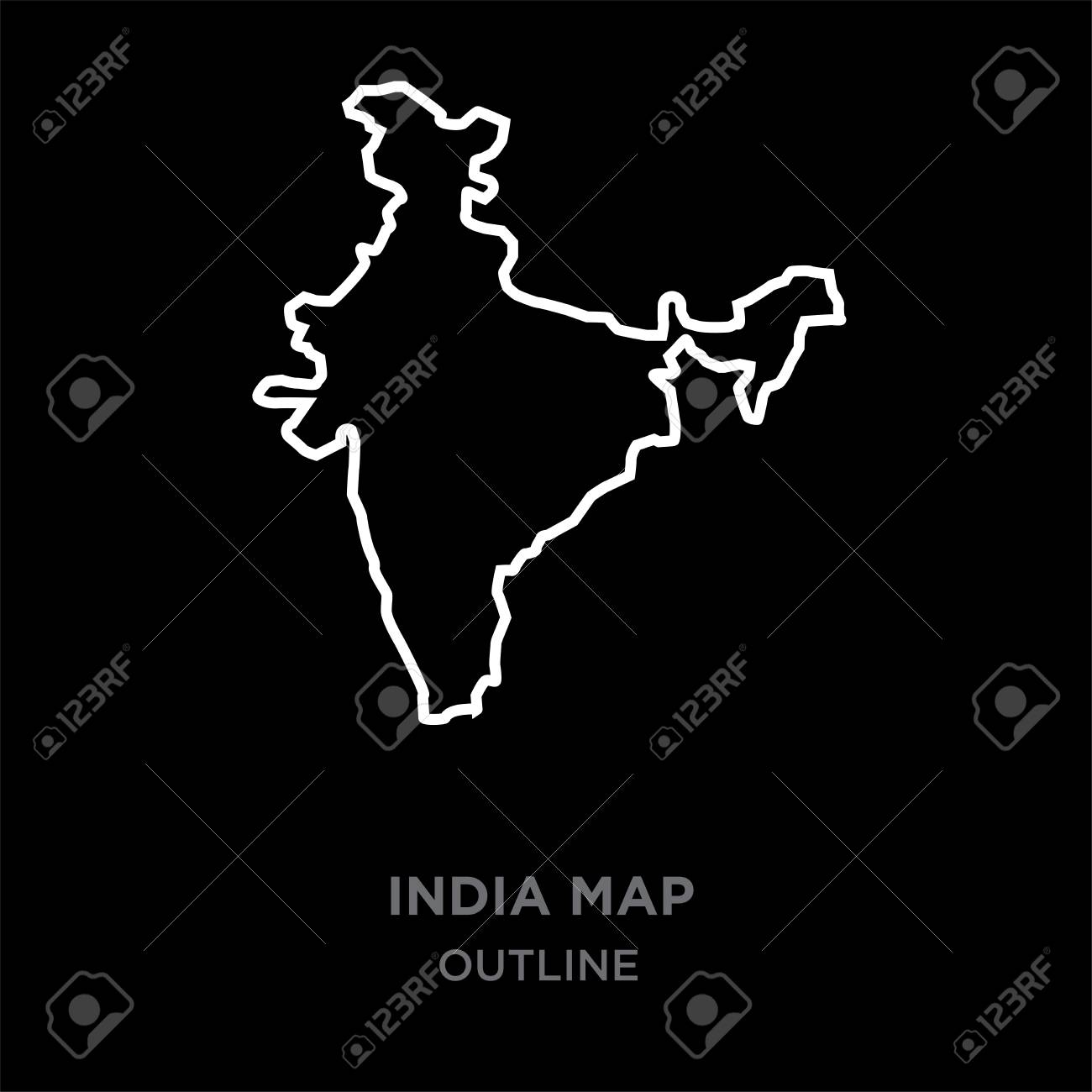 Outline India Map Clipart Black And White