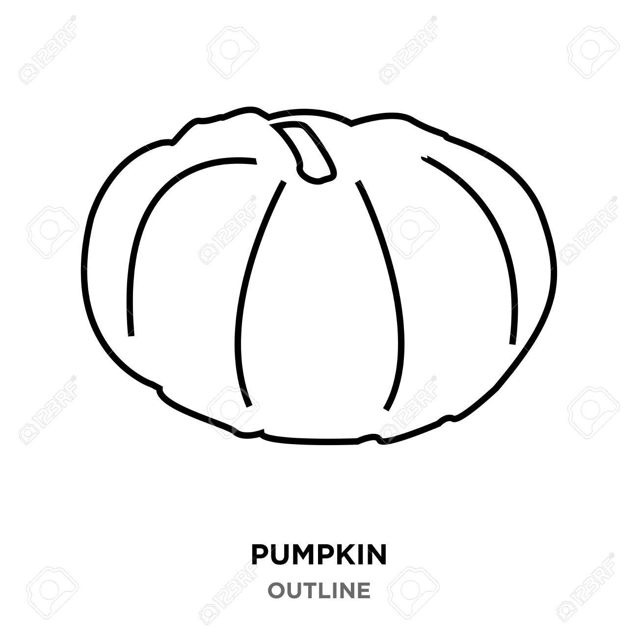 A Pumpkin Outline Images On White Background Royalty Free Cliparts
