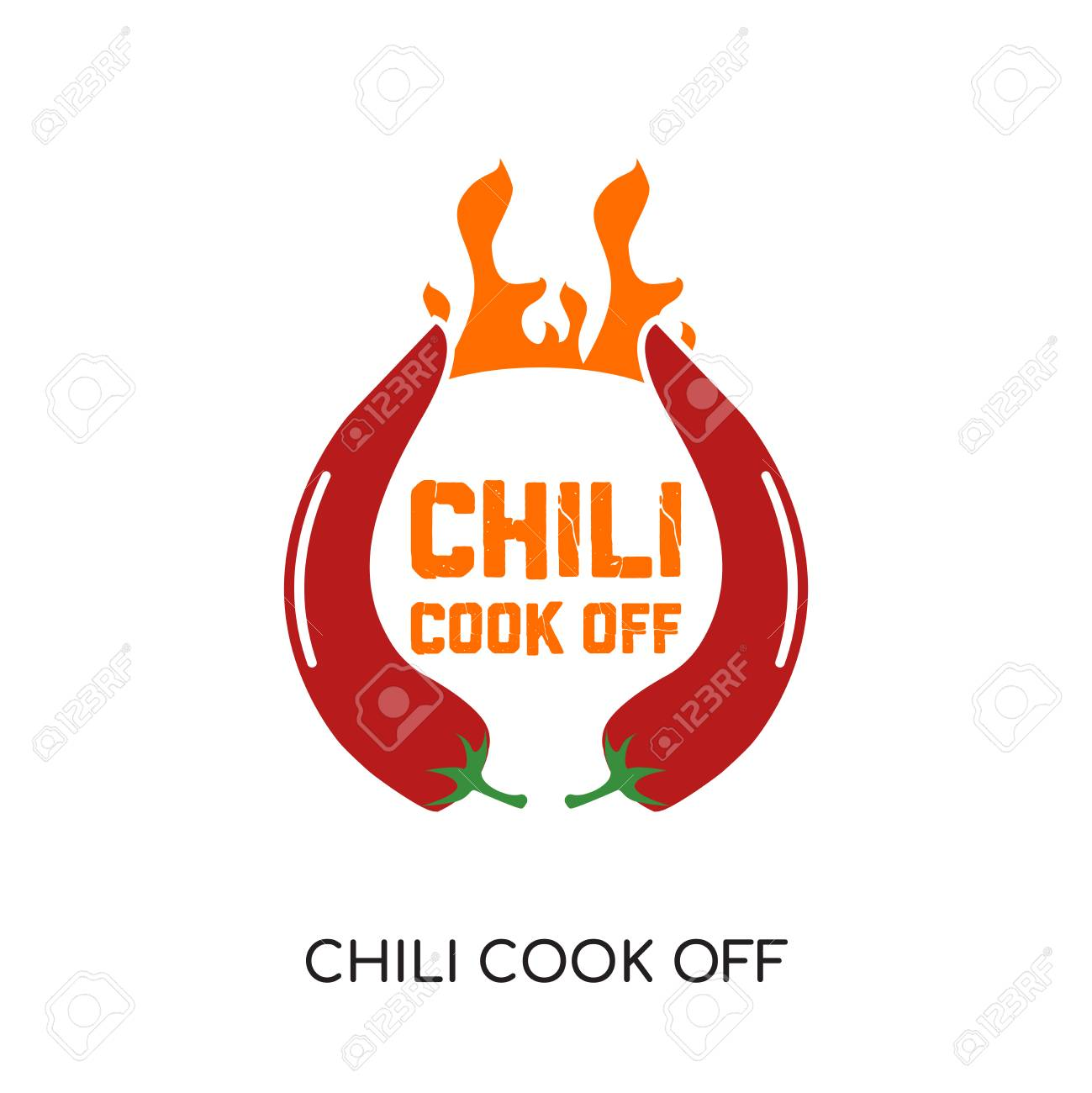 chili cook off logo isolated on white background for your web, mobile and app design - 98897305