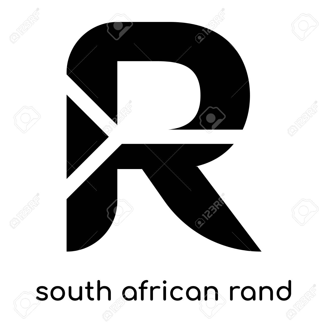South African Rand Symbol Isolated On White Background For Your