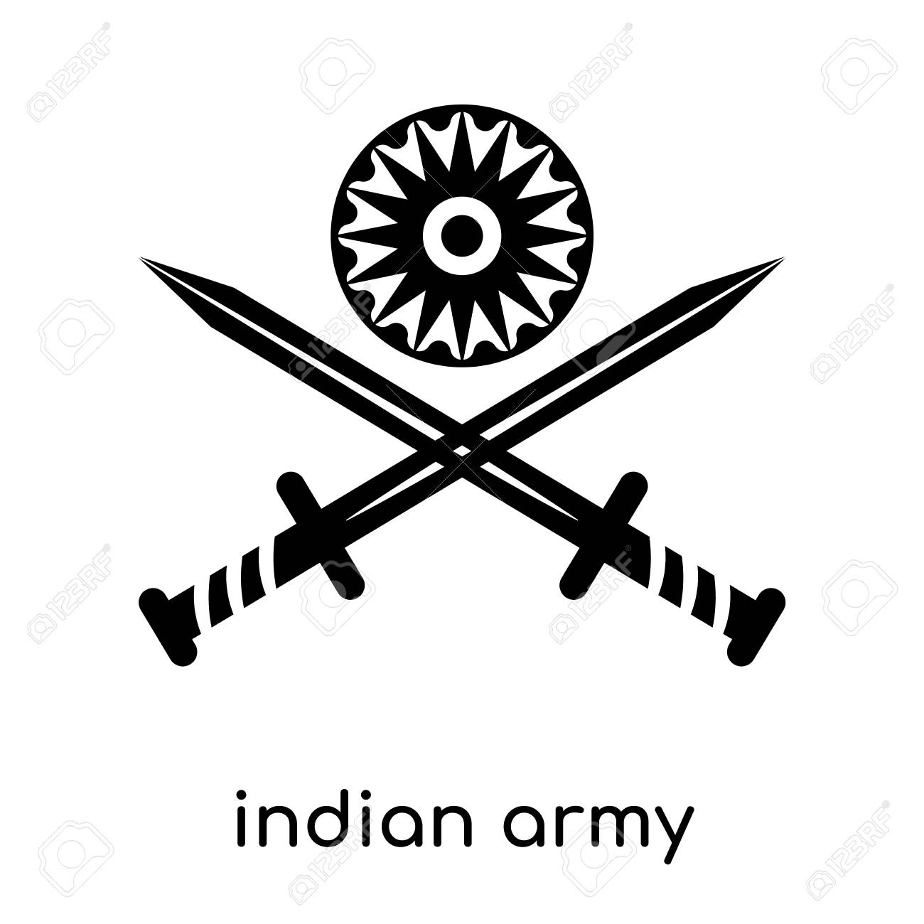 Indian Army Symbol Isolated On White Background For Your Web