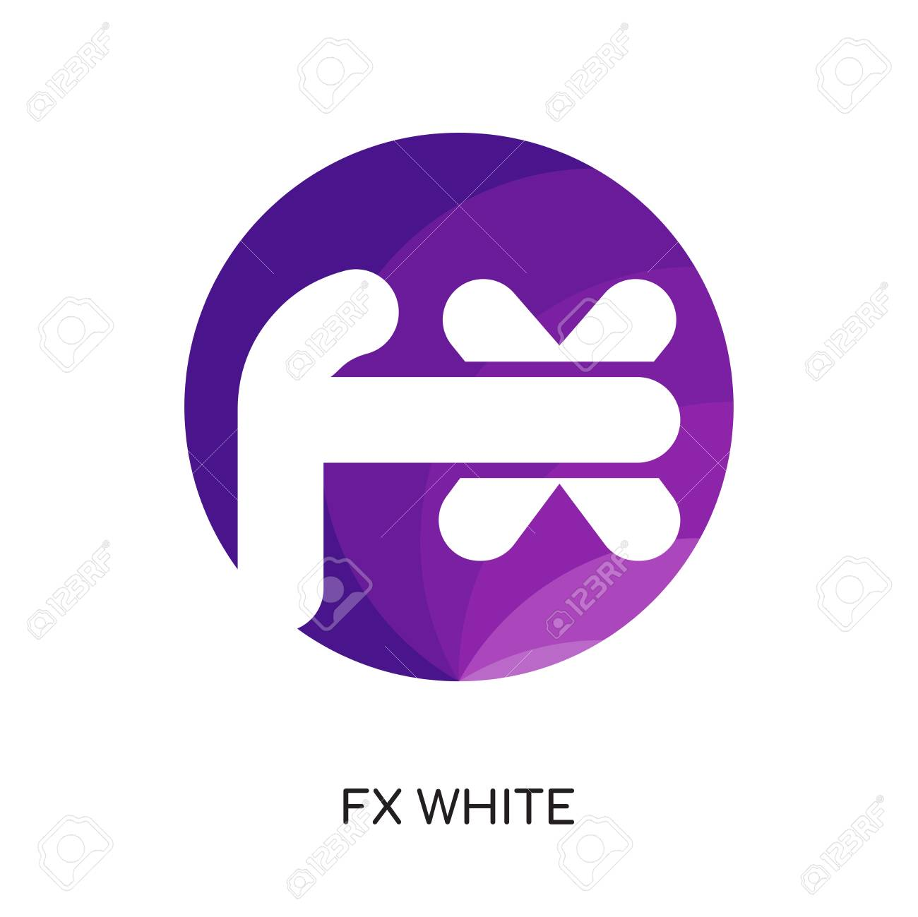 fx white logo isolated on white background for your web and mobile