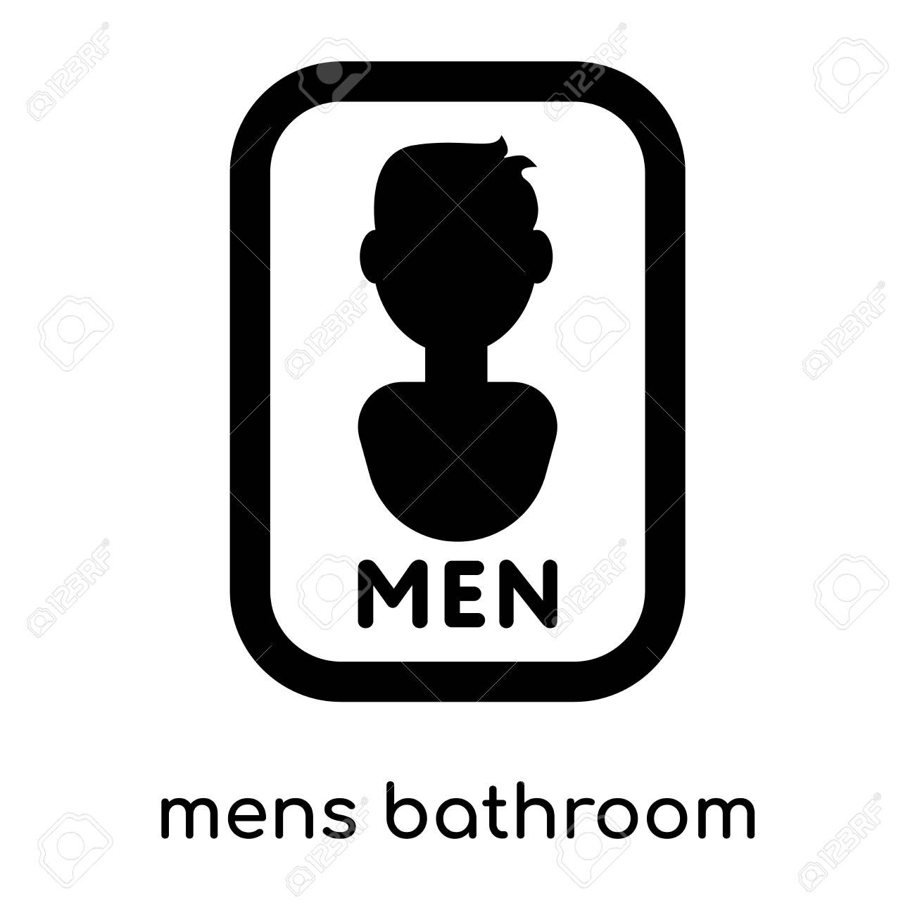 Image of: Men S Bathroom Sign Vector With Mens Bathroom Symbol Isolated On White Background For Your Web And Mobile App Design Black Mens Bathroom Symbol Isolated On White Background For Your Web