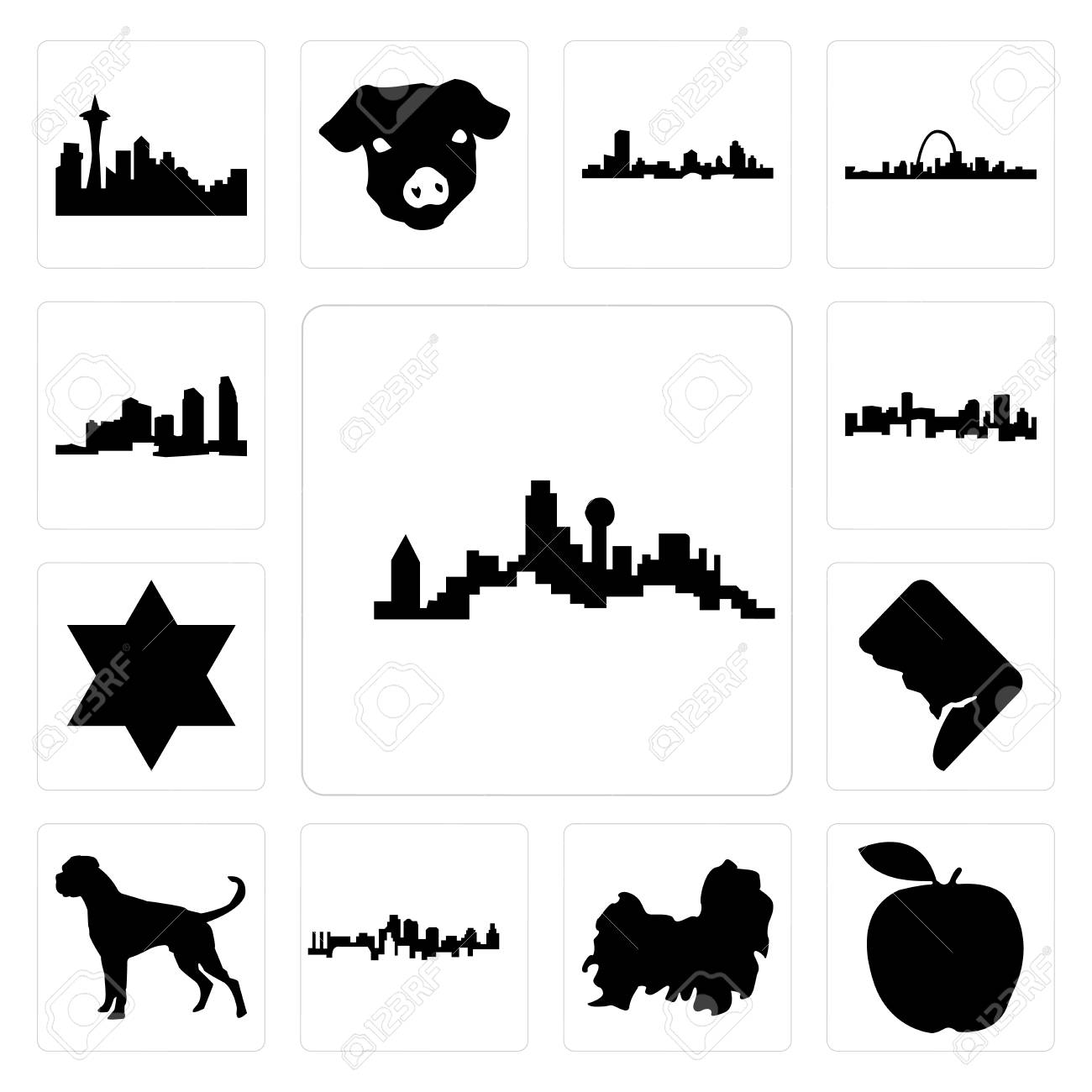 Set Of Dallas Skyline On White Background Apple Shih Tzu