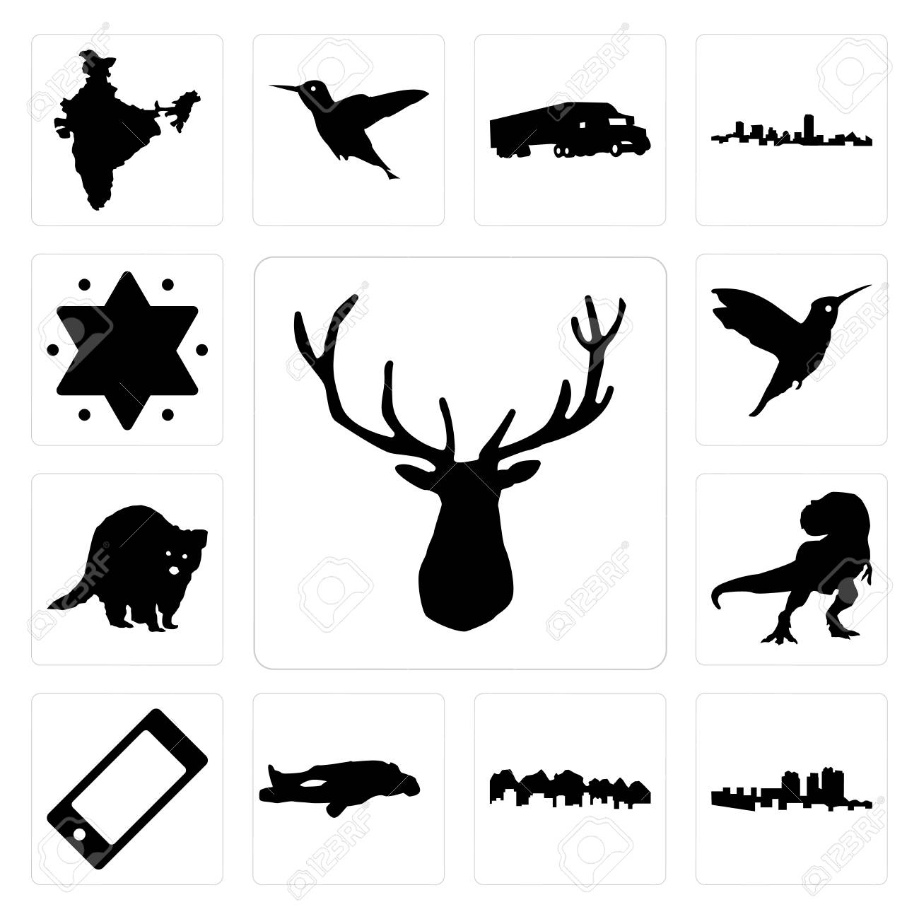 Set Of 13 Simple Editable Icons Such As Elk Head Haiti Utah