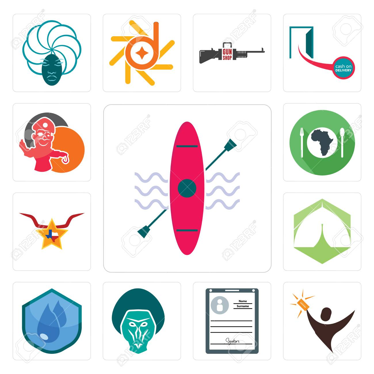 Set Of 13 simple editable icons such as kayak, lucky draw, personal