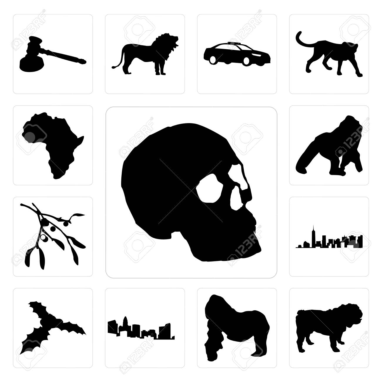 334dd95c5b0e1 Set Of 13 simple editable icons such as skull outline on white background