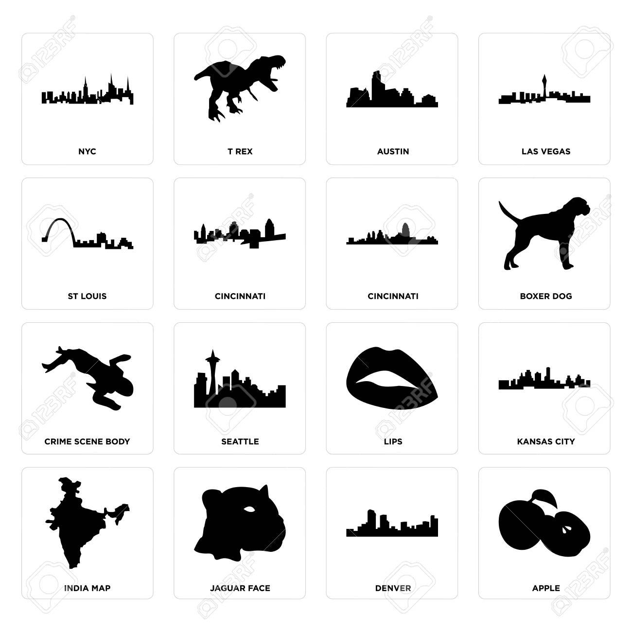 Set Of 16 simple editable icons such as apple, denver, jaguar