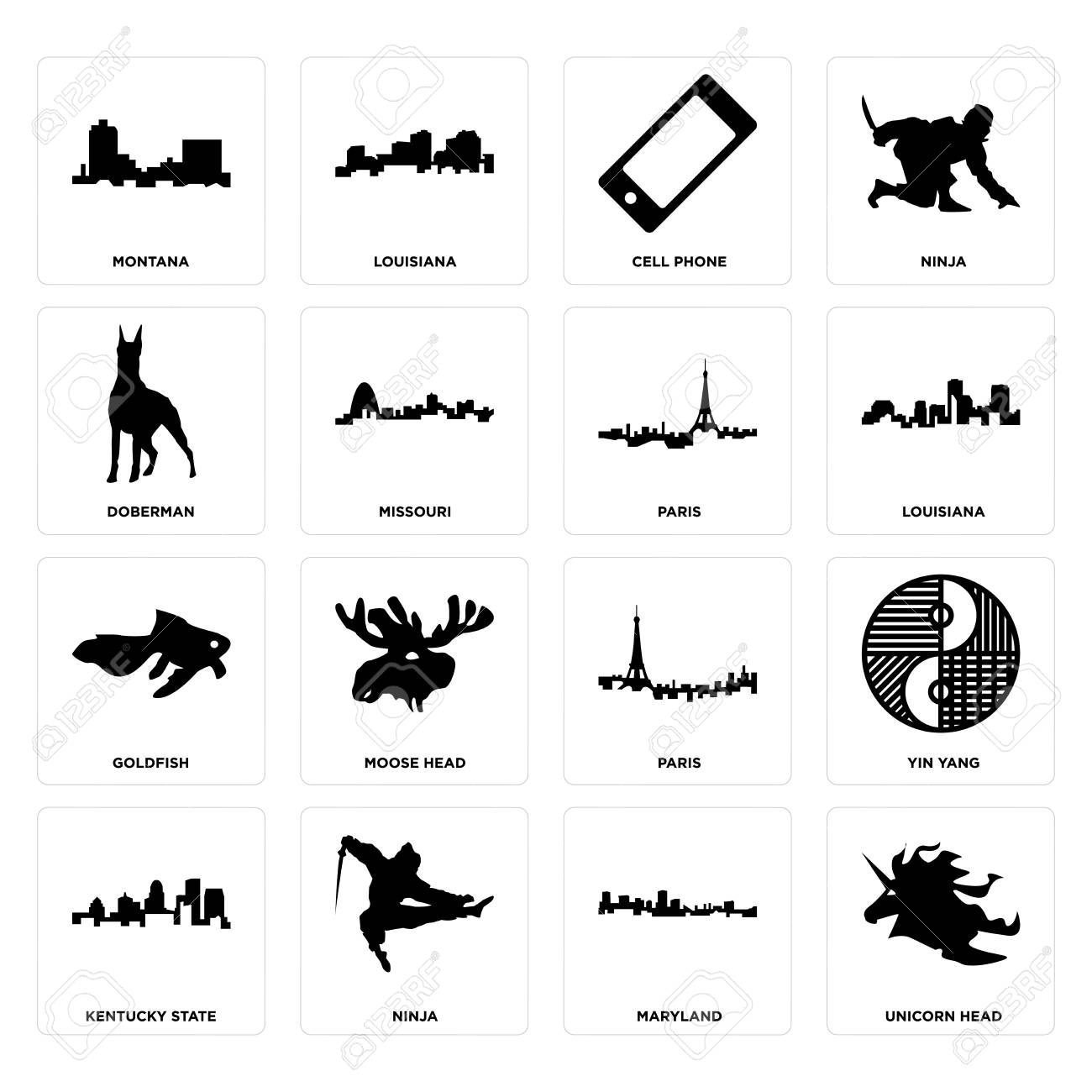Set Of 16 simple editable icons such as unicorn head, maryland,