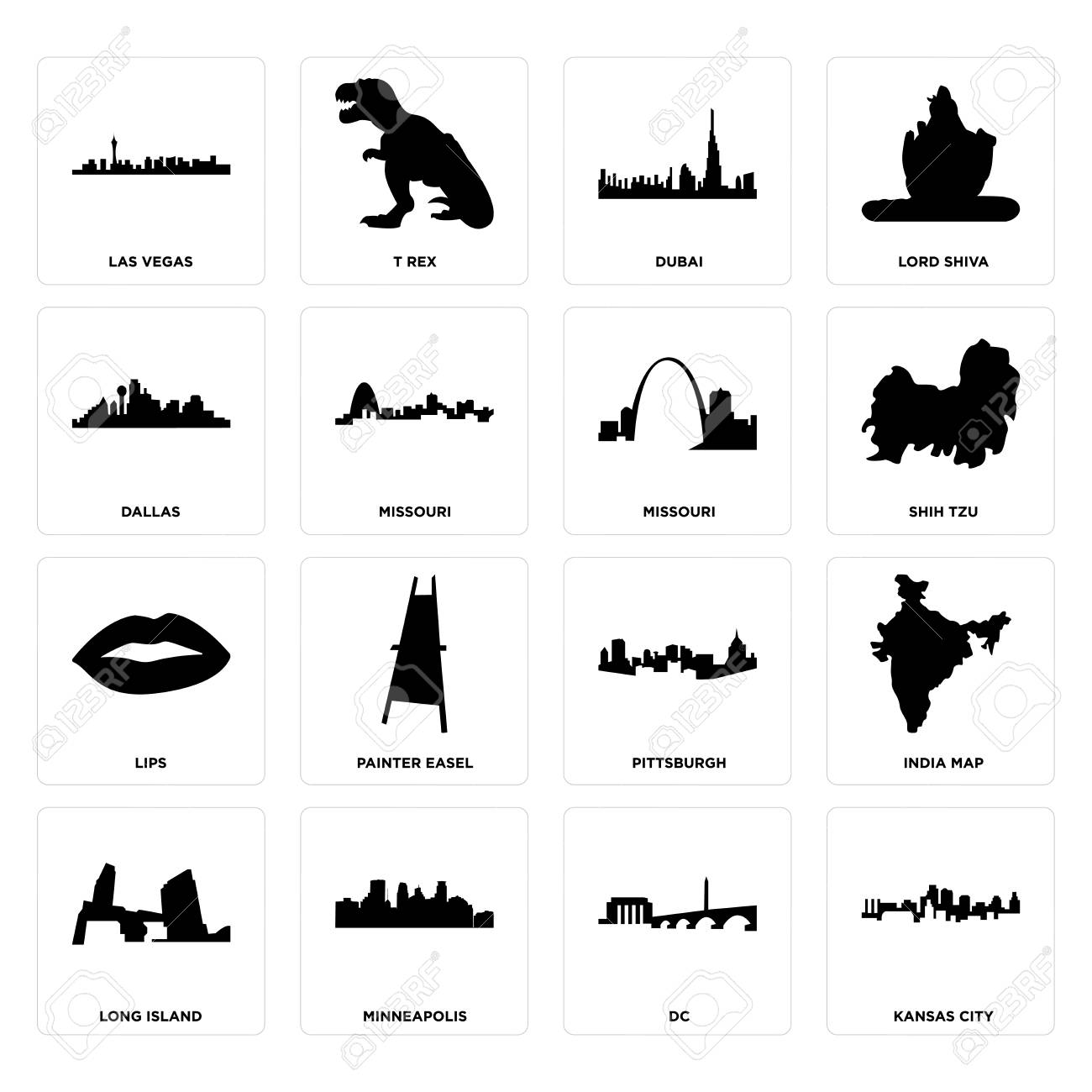 Set Of 16 Simple Editable Icons Such As Kansas City Dc Minneapolis