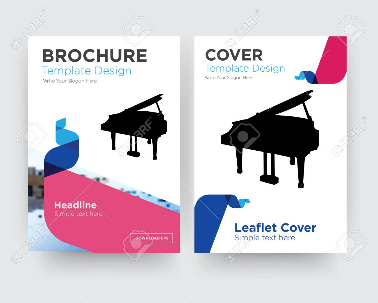 grand piano brochure flyer design template with abstract photo