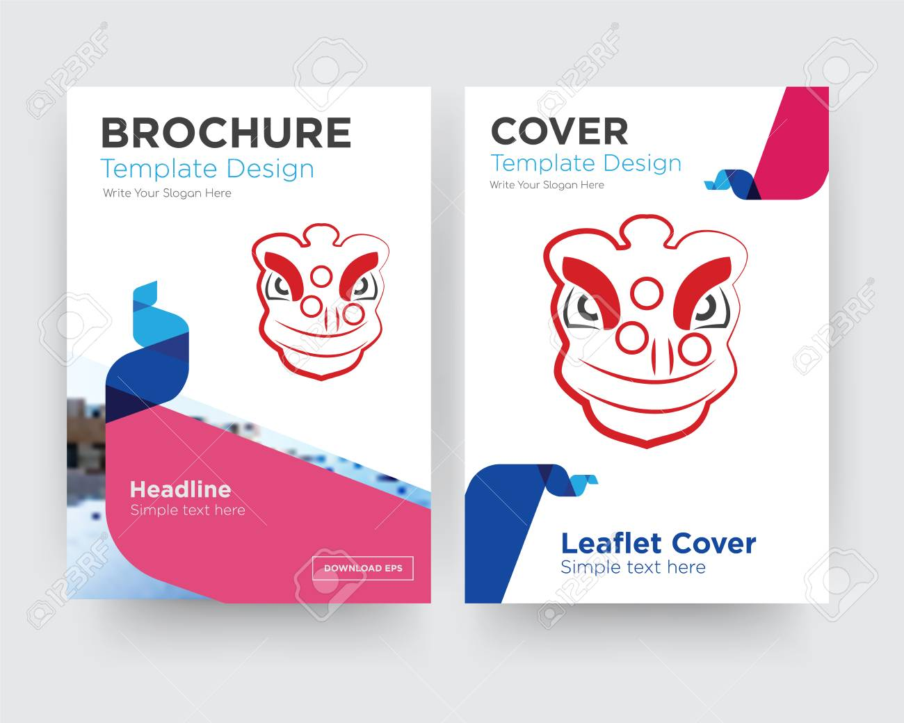lion dance brochure flyer design template with abstract photo