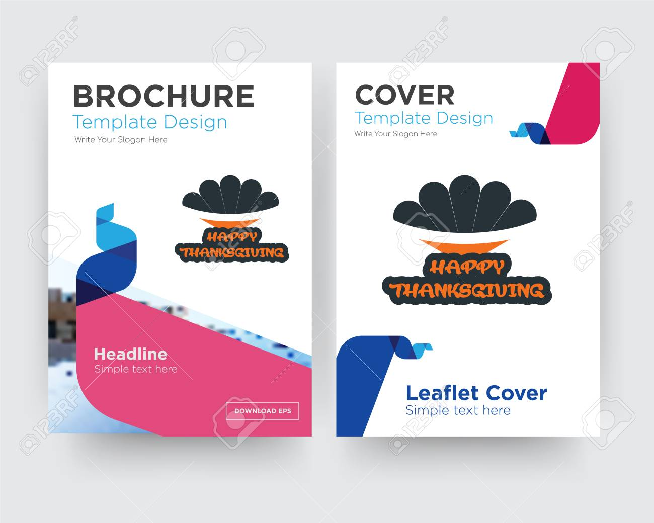 Happy Thanksgiving Brochure Flyer Design Template With Abstract