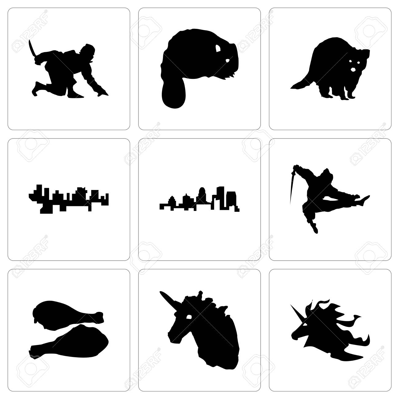Set Of 9 simple editable icons such as unicorn head, turkey leg,
