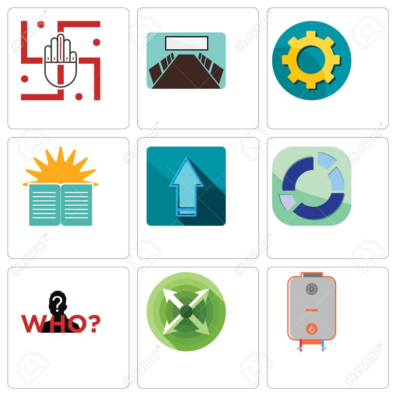 Set Of 9 Simple Editable Icons Such As Boiler, Extend, Mystery ...
