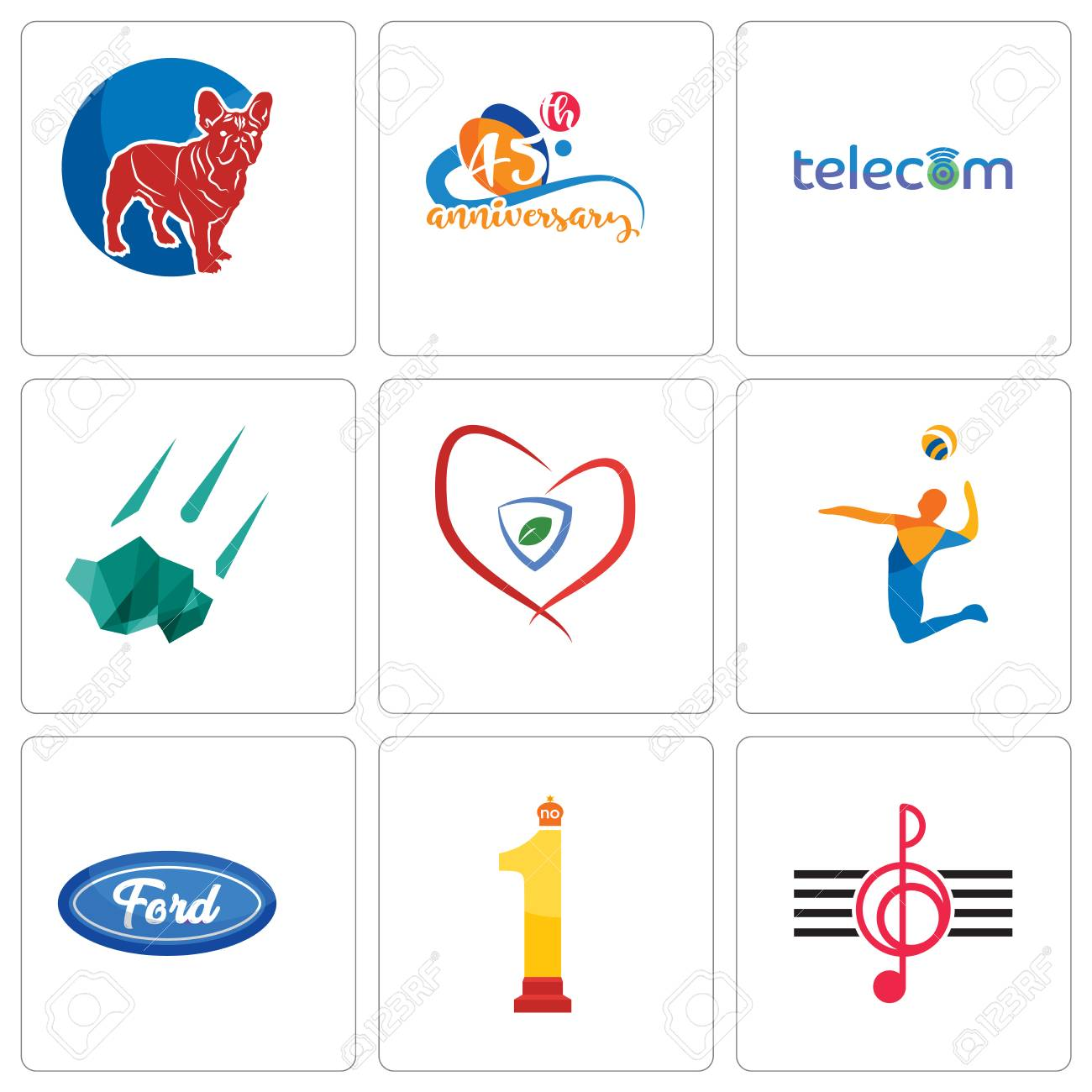 9acb5bb81 Set Of 9 Simple Editable Icons Such As Treble Clef, No.1, F ...