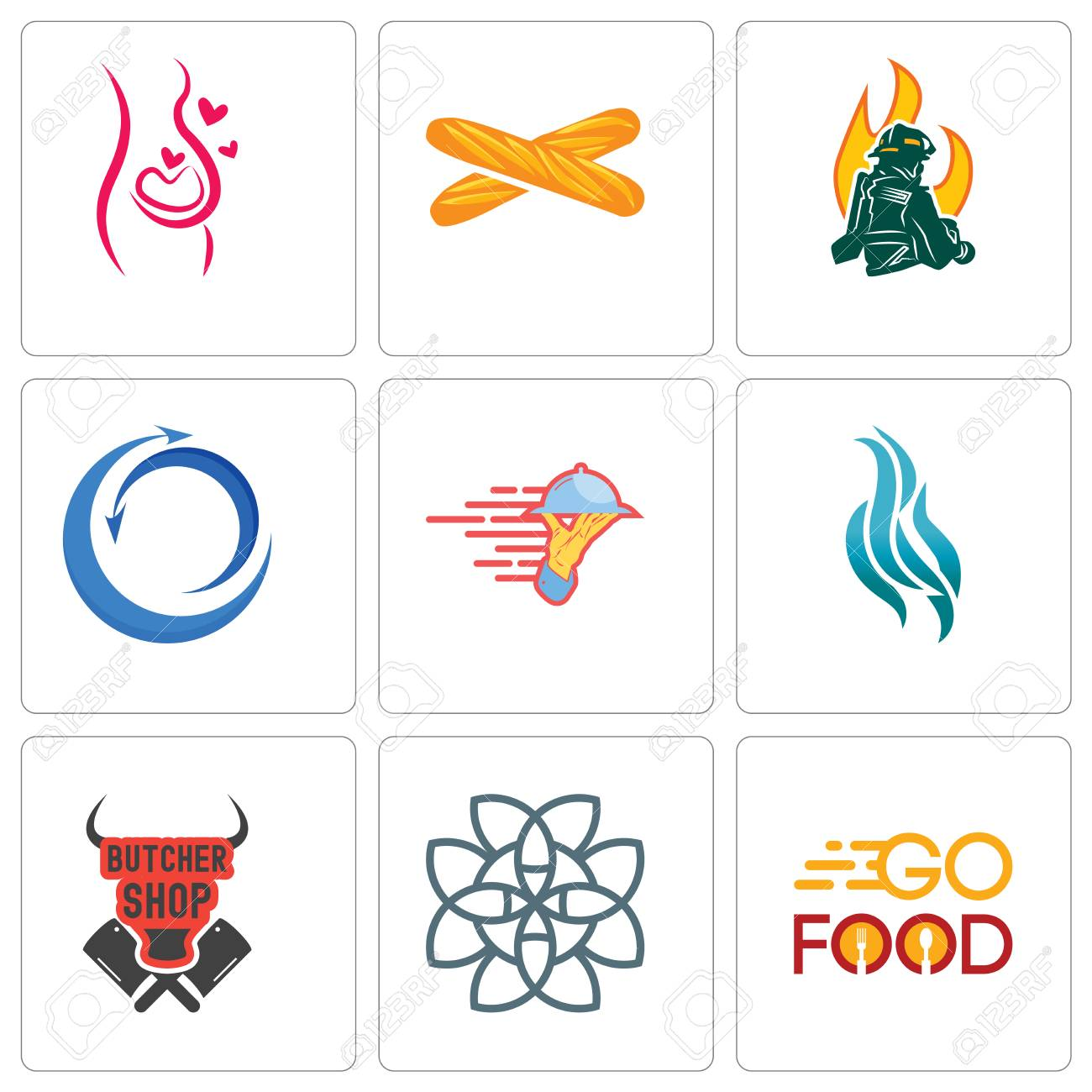 Set Of 9 simple editable icons such as go food, celtic knot,