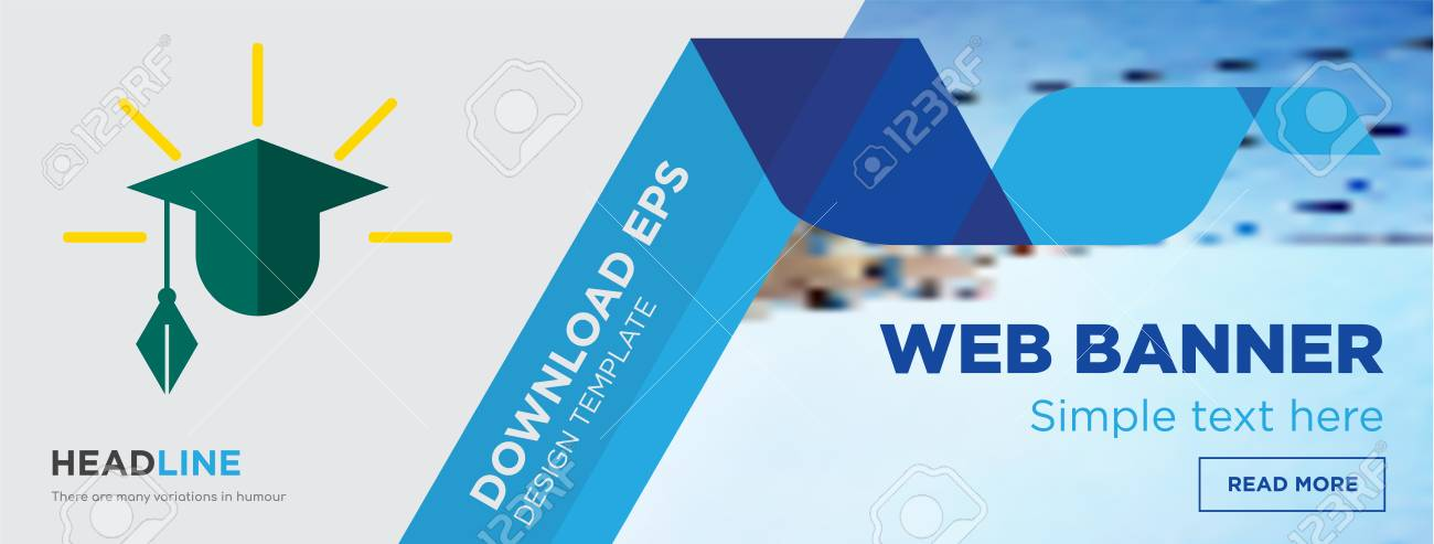 education concept horizontal webpage banner template design on