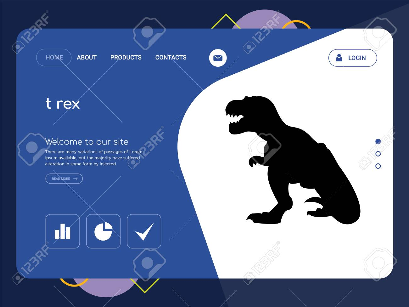 quality one page t rex website template vector eps modern web