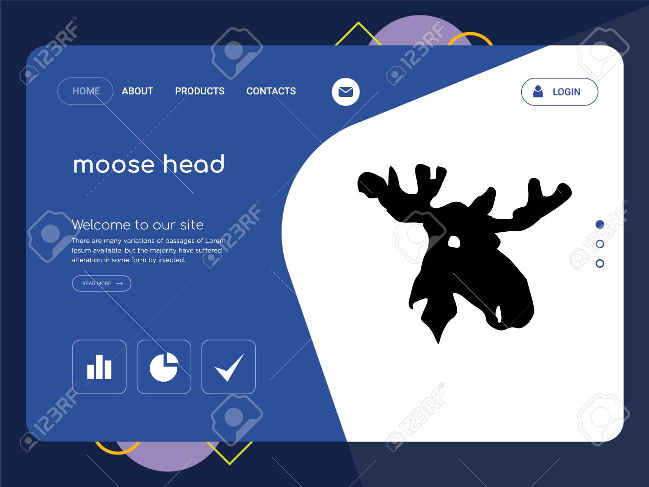 quality one page moose head website template vector eps modern